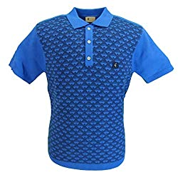 Gabicci Vintage Retro Mod polo. An authentic Mod design this polo takes inspiration from the classic 60s polo cardigan, typically seen with Retro Prints down the front. Contrasting Colours adorn the front of this short-sleeve polo as well as same col...