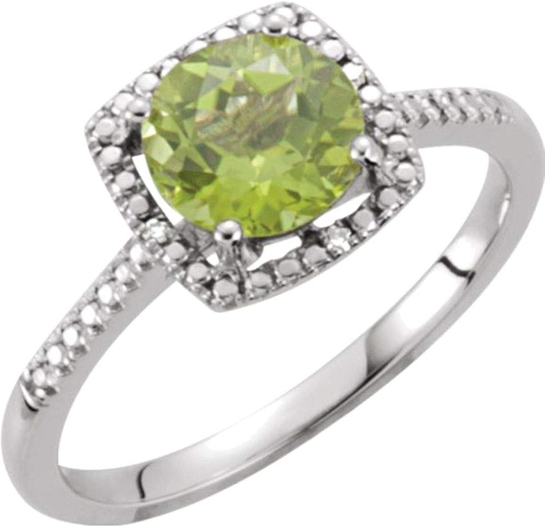 HaloStyle Peridot & .01 ct tw Diamond Ring Size 5