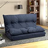 Floor Sofa Adjustable Lazy Sofa Bed, Foldable Mattress Futon Couch Bed (Navy Blue)
