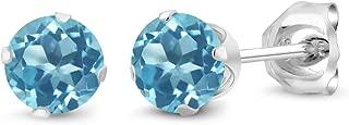 925 Sterling Silver Swiss Blue Topaz Stud Earrings, 0.66 Ctw Round Gemstone Birthstone 4MM