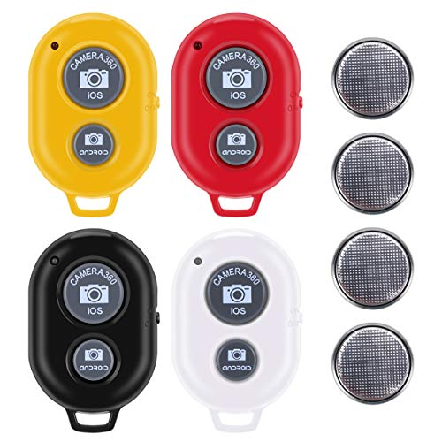 Bluetooth Camera Remote Shutter for Smartphones (4 Pack), Tranesca Bluetooth Camera Remote Controller Compatible with iPhone/Android Cell Phone Camera - Create Amazing Photos and Selfies