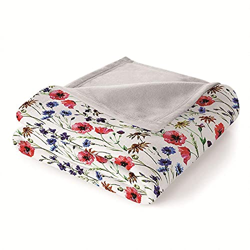 Mantas para Sofa Batamanta Mujer de Franela y Sherpa Manta Bebe Sofa Mantas con Estampados para la Cama y el Sofá 150x200 cm Flor Colorida