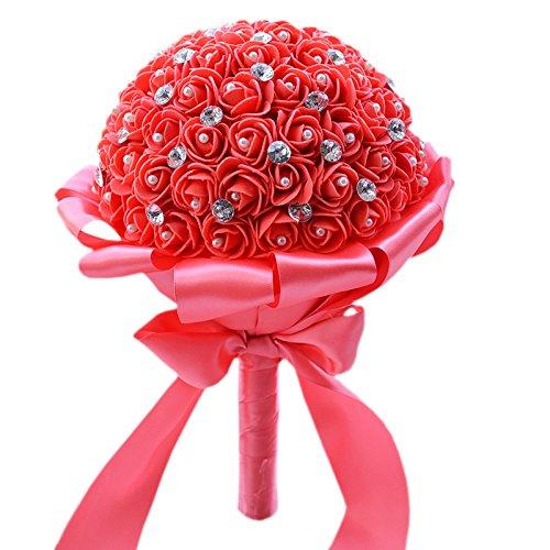 Quibine Bouquets de Mariée PE Rose Ornée Perles Cristal Rhinestone Strass pour Mariage Fleur Artificielle, Rouge