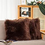 HYSEAS Set of 2 Decorative Faux Fur Throw Pillow Covers, Brown Fluffy Soft Fuzzy Square Cushion Cover Pillow Case for Sofa, Couch, Chair, Bed, Cafe, 18 x 18 Inches