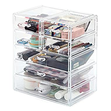 Makeup Organizer EZOWare Acrylic Cosmetic Organizer with 7 Drawer Display Storage Container Box Case for Jewelry, Beauty Products, Supplies, Medicine and more - Clear