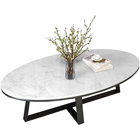 Zrxian Coffee Tables Living Room Tables Oval Marble Coffee Table Living Room White Modern L Modern Living Room Table Side Table Sofa Table With Small Spaces Amazon De Kuche Haushalt