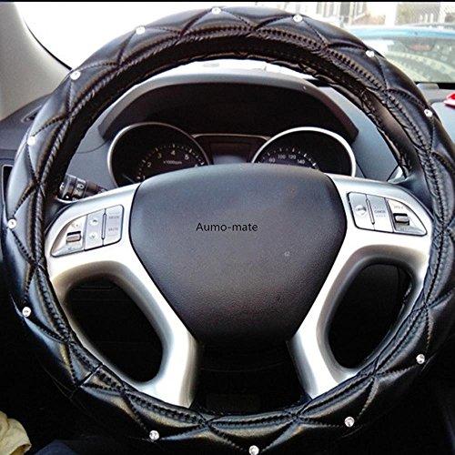 Aumo-mate 38CM Car Steering Wheel Cover Auto Truck Skidproof Soft PU Leather, 15-Inch, Black Rhinestone