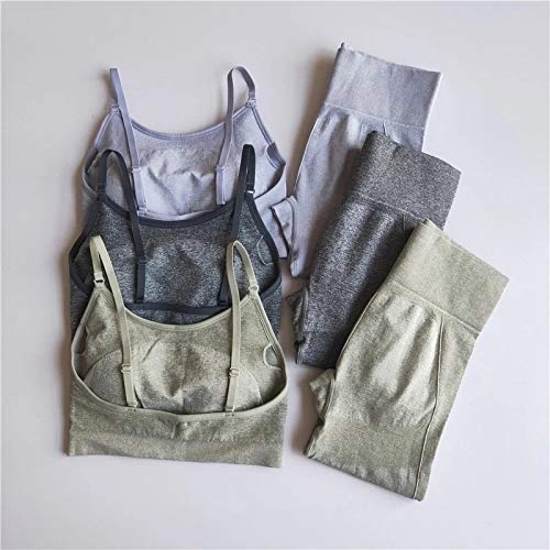 M Gray Set Workout Clothes For Women Sports Bra+High Waist Leggings 2 Piece Set Fitness Sport Suit Gym Set Seamless Yoga Clothing Sportwear