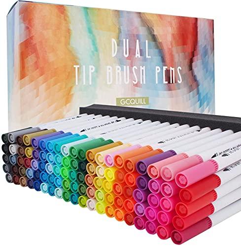 100 Farben Wasserfarben Stifte mit zwei Spitzen, Pinselstift Set Fasermaler, Aquarellstifte filzstifte handlettering stifte GC-100W