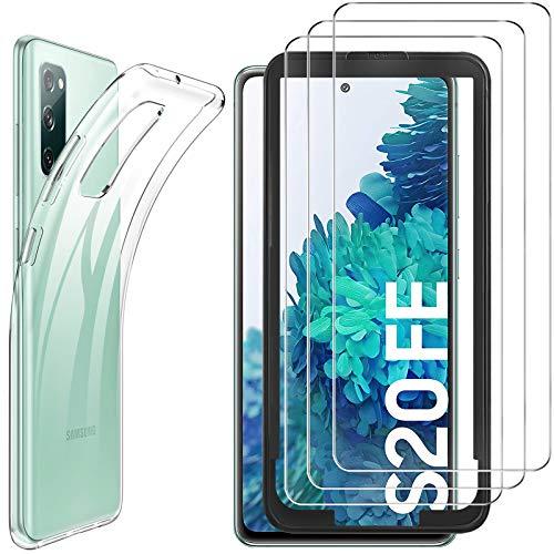 Luibor Funda Samsung S20 FE Protector Pantalla para Samsung S20 FE (3 Piezas),Absorción de Golpes Anti-Rasguños Suave Esmerilado Negro Mate Funda Protectora para Samsung S20 FE