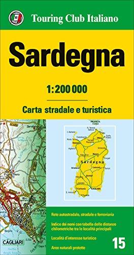 Cerdeña 1:200.000 mapa de carreteras impermeable Touring Club Italiano. (Carte regionali 1:200.000)