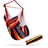Hammock Sky Large Brazilian Hammock Chair Cotton Weave - Extra Long Bed - Hanging Chair for Yard, Bedroom, Porch, Indoor/Outdoor (Hot Colors)