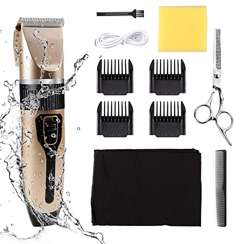Hair Clippers for Men, Professional Hair Cutting Kit, Rechargeable Beard Trimmer Set Low Noise Beard Shaver with Guide Combs Brush & USB Charging, Suitable for Everyone