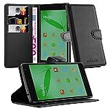 Cadorabo Hülle für OnePlus ONE 2 - Hülle in Phantom SCHWARZ – Handyhülle mit Kartenfach & Standfunktion - Hülle Cover Schutzhülle Etui Tasche Book Klapp Style