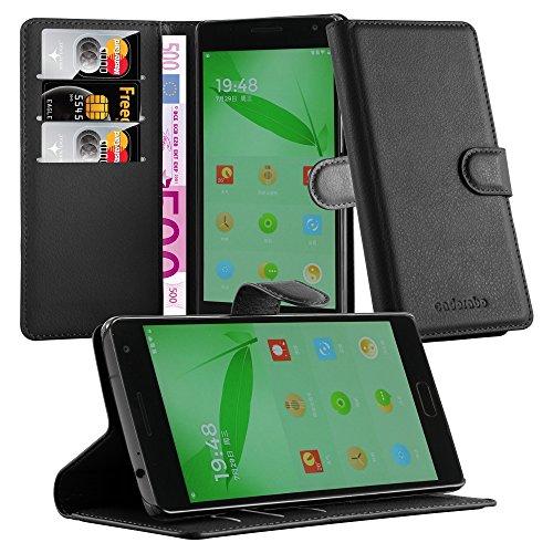 Cadorabo Hülle für OnePlus ONE 2 in Phantom SCHWARZ - Handyhülle mit Magnetverschluss, Standfunktion & Kartenfach - Hülle Cover Schutzhülle Etui Tasche Book Klapp Style