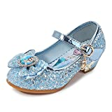 Eleasica Zapatos de tacón bajo para niñas pequeñas, Zapatillas de Baile Brillantes para Disfraz de Princesa, Calzado con Punta Cerrada, Adorno Lazo y Retrato de Princesa Elsa, Gran Regalo Infantil