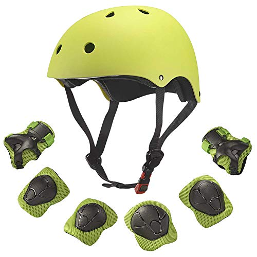 Creamon Helm Fahrrad Sport im Freien Skateboard Motocross, 7-TLG. Skateboard Helm Protector Set Ellbogen Handgelenk Knieschützer Helm Sport Sicherheit Schutzausrüstung Schutz für Kinder Gelb