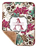 YouCustomizeIt Sugar Skulls & Flowers Sherpa Baby Blanket 30' x 40' (Personalized)