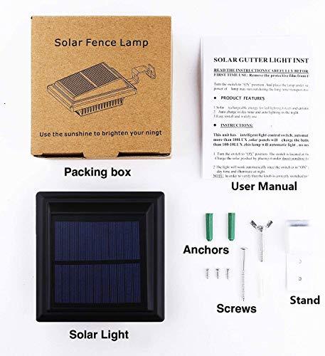 Solar Gutter Light,LED Gutter Light,40 LEDs,2W,Light Sensing,Black,Cold White Light Set of 8Pcs(Black)