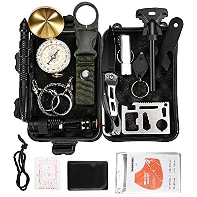 Eachway Professional 11 in 1 Emergency Survival Gear Kit Outdoor Survival Tool with Fire Starter Compass Whistle Survival Knife Flashlight Tactical Pen etc for Outdoor Travel Hike Field Camp from Eachway