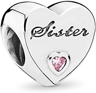 Sister'S Love Charm, Sterling Silver, Pink Cubic Zirconia, One Size