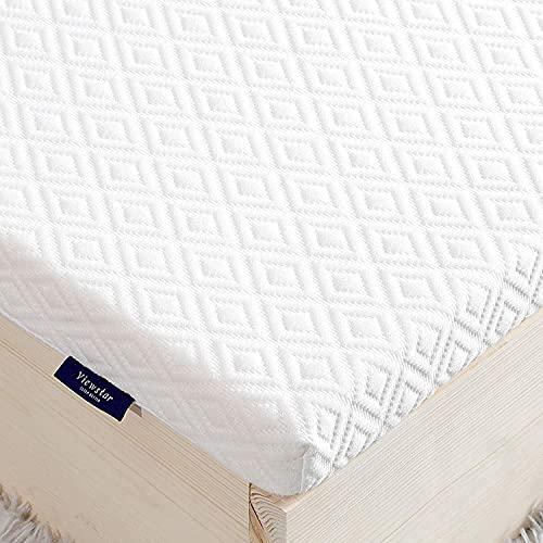 viewstar Topper 140 x 200 cm, madrassöverdrag av minnesskum för resårsäng ortopedisk bäddmadrass