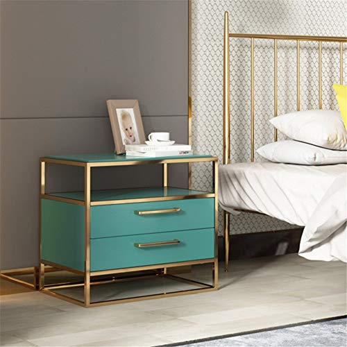Affordable DERTHWER Nightstand, Golden Metal Frame Bedside Table Night Stand Storage with 2 Drawers ...