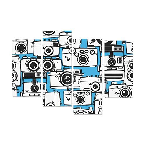 WYYWCY 4 Piezas Impresiones de Lienzo fotográfico Pequeña cámara Kawaii Colorida Cocina Divertida Decorativa Arte de la Pared Sin Marco Sala de Estar Oficina Hotel Decoración del hogar Regalo