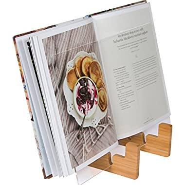 Cookbook Holder & Book Stand - 2-in-1 Kitchen Book Stand for Cookbooks or iPad Stand For Kitchen. Suitable for iPad and iPad mini, Surface & Other 7-12 Inch Tablets