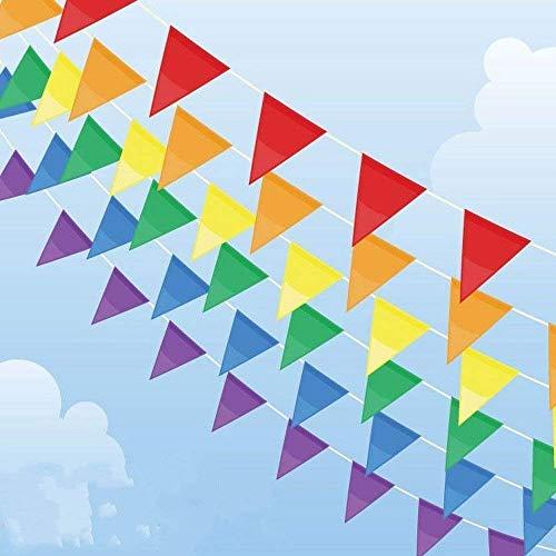 OFNMY 50 Meter Wimpelkette Polyester Wimpel Girlande Bunting Banner 75 Stück Wimpel Flagge mit Große Dreieck Fahnen für Dekoration, Weihnachten, Geburtstagsparty