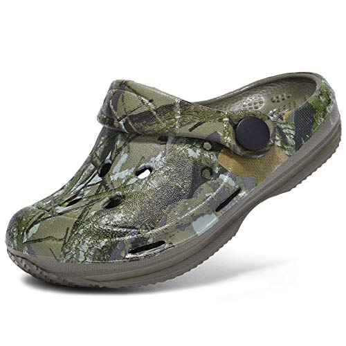 STQ Kids Clogs Boys Garden Shoes Slip-on Water Shoes Quick Dry Beach Sandals Camo Khaki, 3 Little Kid