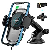 Maxuni Wireless Car Charger, Qi 15W Fast Charging Auto-Clamping Charger Mount Windscreen Air Vent Phone Holder with Charge Port for iPhone 12 Pro Max/11/XR/XS Max, for Galaxy S20/S20 Plus/Note10 etc