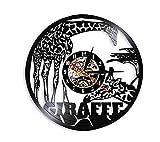 Orologio in Vinile Giraffa Wall Art Wildlife Animal Orologio da Parete Safari Decorazione da Parete Vintage Vinyl Record Orologio da Parete Kid Room Orologio Decorativo Watch-Ice