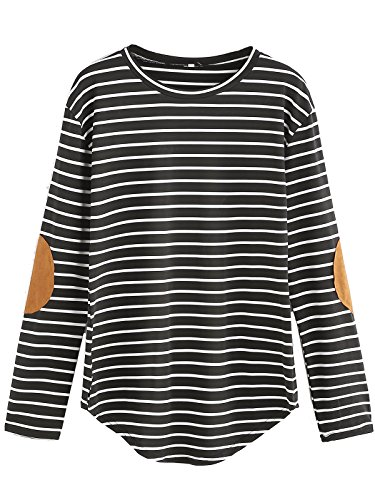 Milumia Women's Elbow Patch Striped High Low Top T-Shirt Black X-Large Michigan