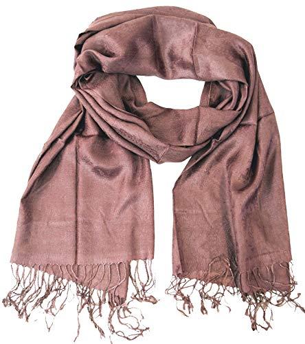 GURU SHOP Indischer Pashmina Schal/Stola, Herren/Damen, Altrosa, Synthetisch, Size:One Size, 180x70 cm, Schals Alternative Bekleidung