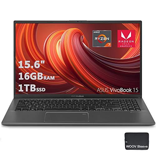 ASUS VivoBook 15 Thin & Light 15.6' FHD Laptop, AMD 4 Core R7-3700U CPU,16GB DDR4 RAM, 1024GB PCIE SSD, AMD Radeon Vega 10 Graphics, Fingerprint, Woov Sleeve, Windows 10 Home(Slate Gray)