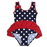 inlzdz Badeanzug für Babys, Kleinkinder, Mädchen, gepunktet, Rock Gr. 2-3 Jahre, dunkles marineblau