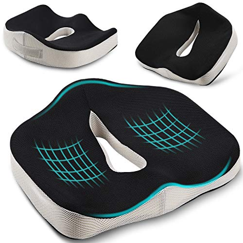 Pootack Orthopedic Seat Cushion, Coccyx Chair Cushion For Sciatica Hemorrhoid Tailbone Back Pain Relief - Memory Foam Ergonomic Support Cushion For Office Chair, Wheelchair, Car Seat