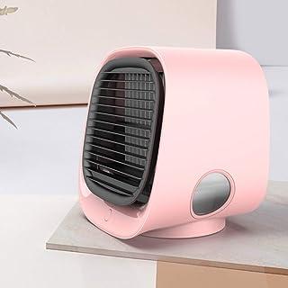 WZF Ventilador de Aire Acondicionado SILENCIOSO portátil, Ventilador eléctrico silencioso sin Cuchilla de sobremesa Ventilador de humidificación con luz Nocturna Rosa 5x16x17 cm (6x6x7 Pulgadas)