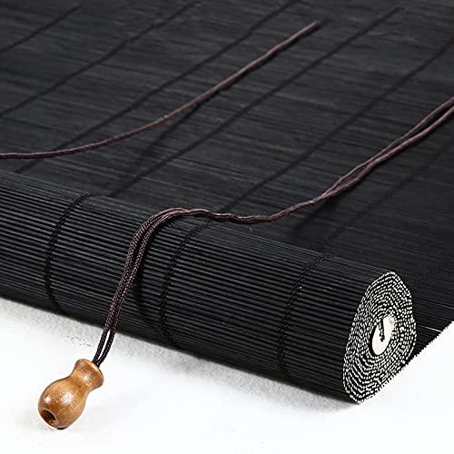 Persiana enrollable de bambú negra Estores veneciana de madera cortina de casa Romanas cortinas opacas transpirables decoración de partición,para ventanas,puertas,balcones,Personalizable (60x100 cm)