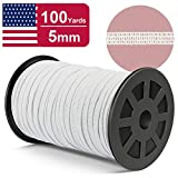 TIRIO Flat Knitted Elastic Band for Mask DIY and Sewing, 100 Yards 1/4 Inch Width Heavy Stretch High Elasticity Knit String Spool for Crafts (100 Yards, 5mm, White)