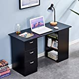 <span class='highlight'><span class='highlight'>4HOMART</span></span> Wooden Computer Desk, Home Office Workstation PC Laptop Gaming Writing Table Study Desk with 3 Drawers and 3 Tier Shelves (Black)
