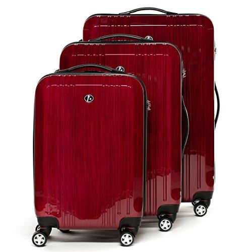 FERGÉ Kofferset Hartschale 3-teilig Cannes Trolley-Set - Handgepäck 55 cm L XL - 3er Hartschalenkoffer Roll-Koffer 4 Rollen 100% ABS & PC rot