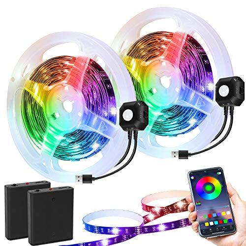 Striscia LED Timer Spegnimento Automatico 5050 Sincronizzazione Musicale Cambia Colore USB e Controllo APP, Luci Bias RGB per Letto, Scale, Armadio (2 Kits)