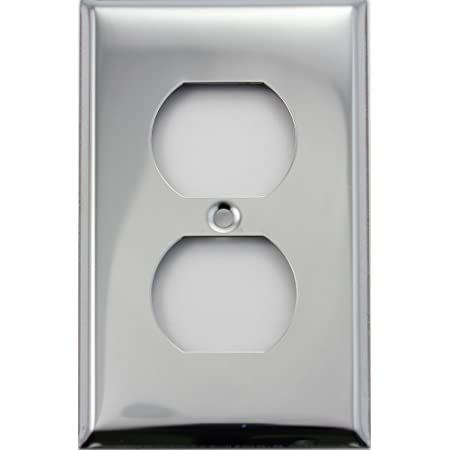 2-PK Polished CHROME 1-Gang Duplex Receptacle Outlet Wall Plate Cover NEW 12-1-C