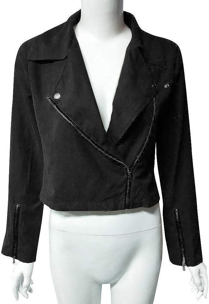 Jackets for Women Long Sleeve Zipper Short Retro Jacket Moto Biker Casual Coat Outwear - Limsea