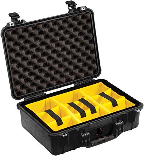 PELI 1500 Stoßfester Aufbewahrungskoffer, Kamerakoffer, IP67 Wasser- und Staubdicht, 19L Volumen, Hergestellt in Deutschland, Gepolstertes Einteilungssystem, Schwarz