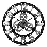Lafocuse Reloj de Pared Silencioso Madera Industrial Reloj Cuarzo Grande Engranaje Vintage Plata para Bar Salon Comedor Dormitorio 45 cm