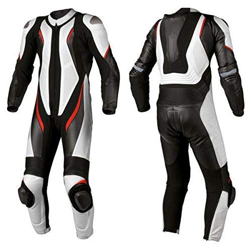 Motorcycle New White/Black One piece Track Racing Bikers Professional Suit CE Approved Protection (4XL)