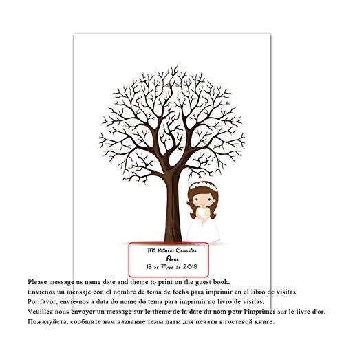 Nombre personalizado personalizado gratuito Fecha Huella digital DIY Firma Árbol para bebé Primera comunión Fiesta de cumpleaños y Boda Libro de visitas